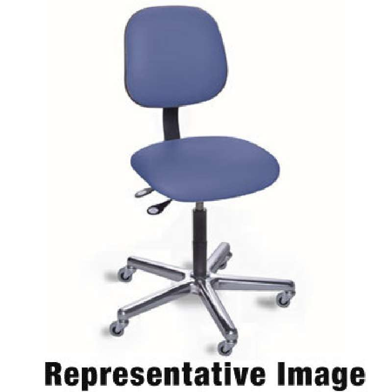 EEA Series Non-ESD-Safe Adjustable Height Blue Cloth Chair with Chrome Aluminum Base, 19 to 24""