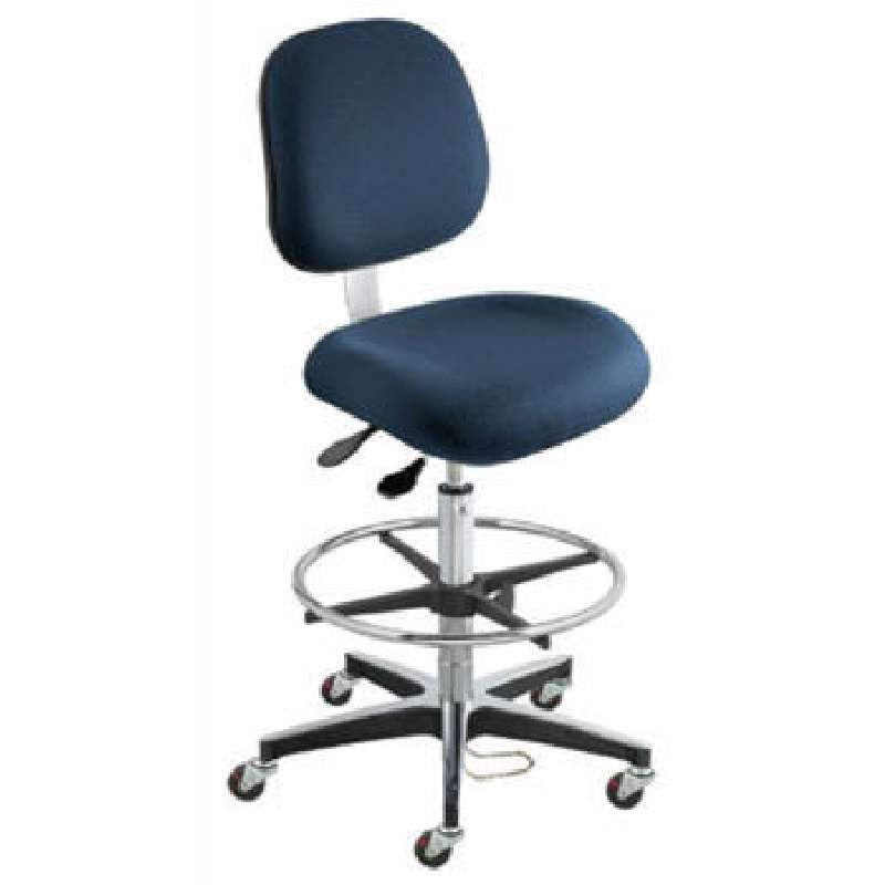 EEA Series ESD-Safe Adjustable Height Blue Cloth Chair with Aluminum Base and Footring, 24 to 34""