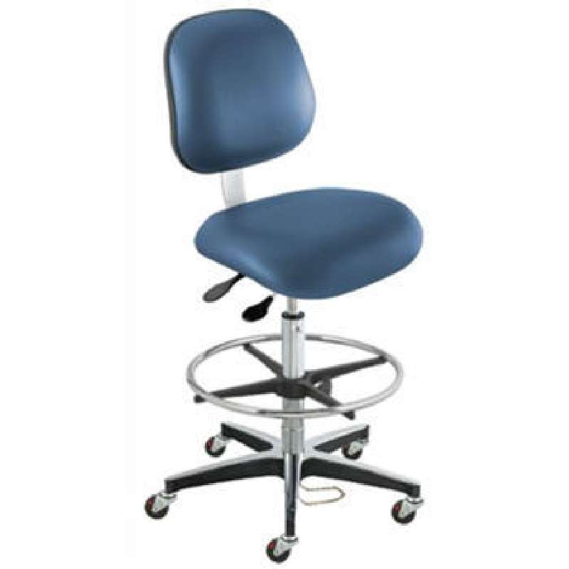 """EEA Series ESD-Safe Adjustable Height Blue Vinyl Chair with Aluminum Base and Footring, 24 to 34"""""""