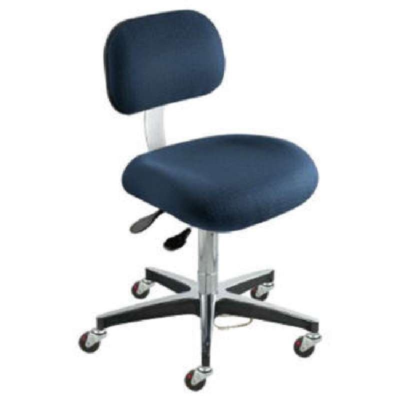 """ETC Series ESD-Safe Adjustable Height Navy Blue Cloth Chair with Aluminum Base and Casters, 17 to 22"""""""