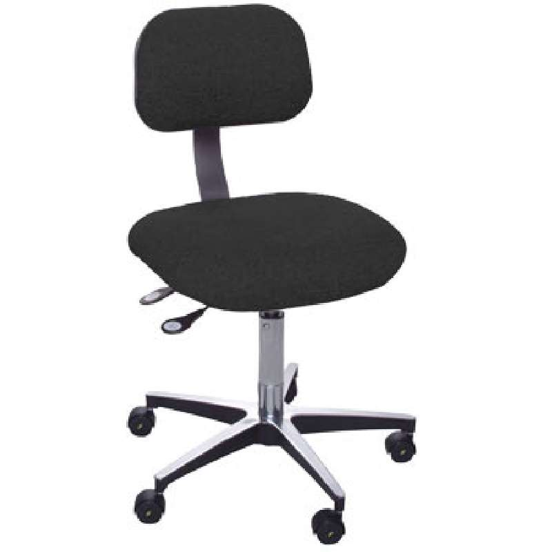 """ETC Series Non-ESD-Safe Adjustable Height Black Cloth Chair with Aluminum Base, 17 to 22"""""""
