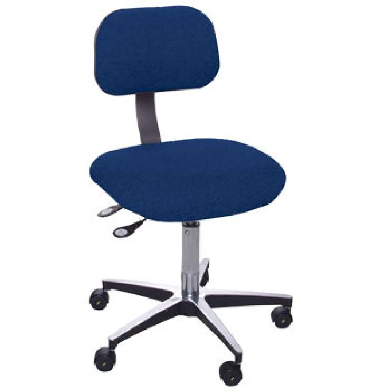 """ETA Series Non-ESD-Safe Adjustable Height Navy Blue Cloth Chair with Aluminum Base, Footring, and Casters, 22 to 32"""""""