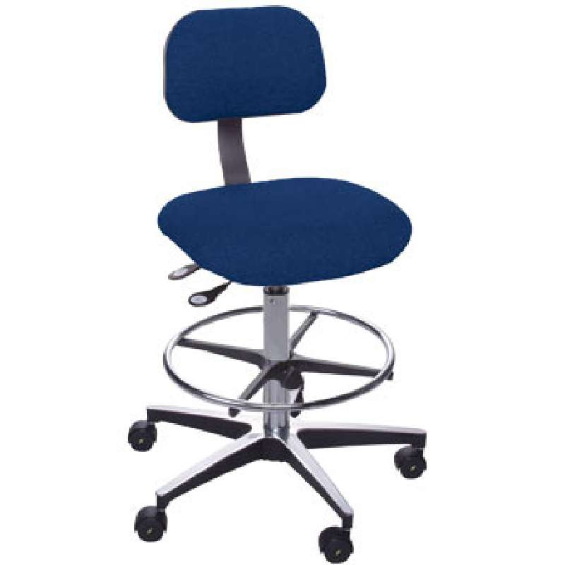 """ETC Series Non-ESD-Safe Adjustable Height Navy Blue Cloth Chair with Aluminum Base, Footring, and Casters, 23 to 28"""""""