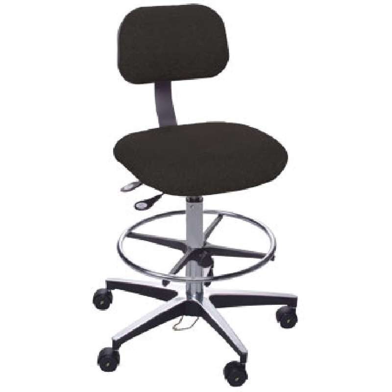 """ETA Series Non-ESD-Safe Adjustable Height Black Cloth Chair with Aluminum Base, Footring, and Casters, 22 to 32"""""""