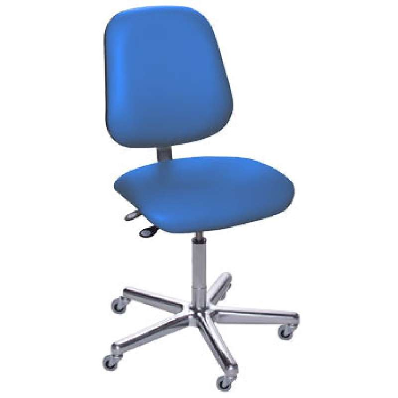 """AMW Series Non-ESD-Safe Adjustable Height Blue Vinyl Chair with Large Back, Aluminum Base, and Casters, 17 to 22"""""""