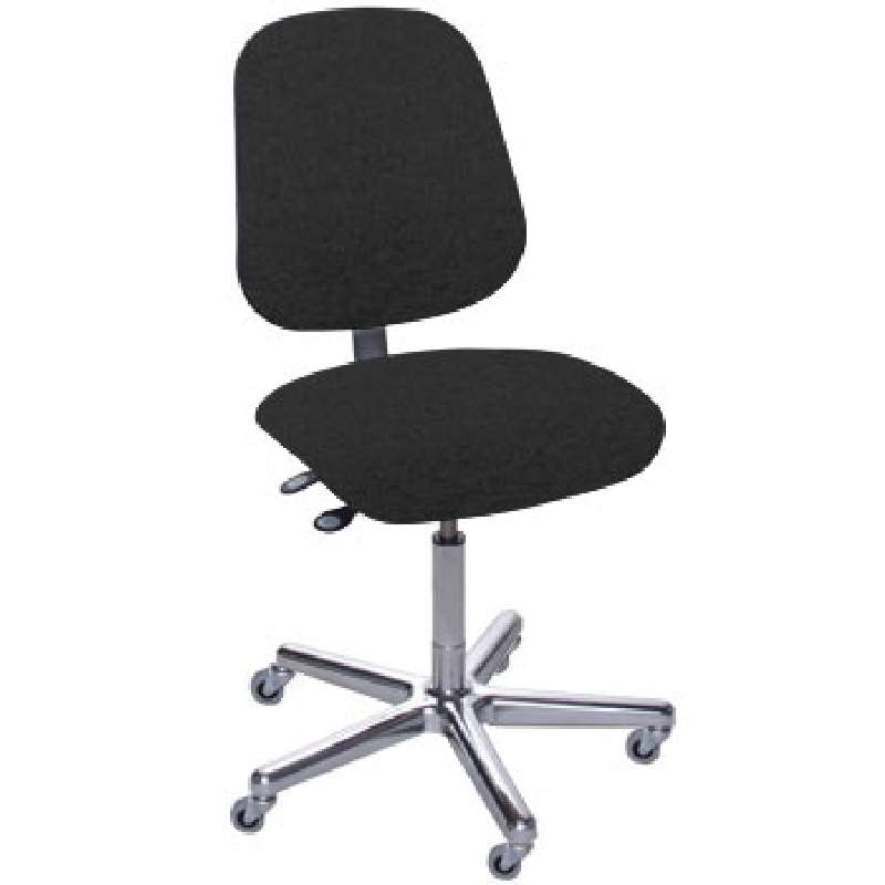 """AMW Series Non-ESD-Safe Adjustable Height Black Cloth Chair with Large Back, Aluminum Base, and Casters, 17 to 22"""""""