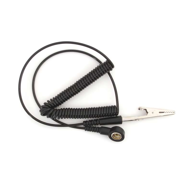 """Long Life Standard Black 12' Coil Cord with 1/4"""" snap"""