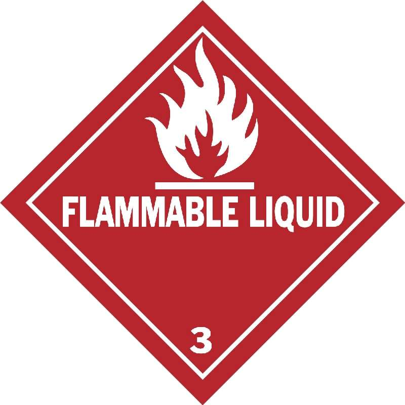 Flammable Liquid Hazardous Shipping Label, Red on White, B-7569, 4 x 4 x .004 in, 500 Labels per Roll