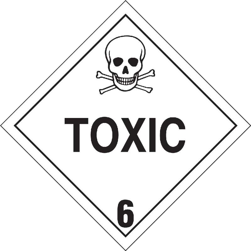 Toxic Label, Black on White, B-7569, 4 x 4 x 0.004 in, 500 Labels per Roll