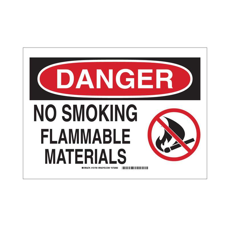 No Smoking Flam Mtrls B555 10in x 14in