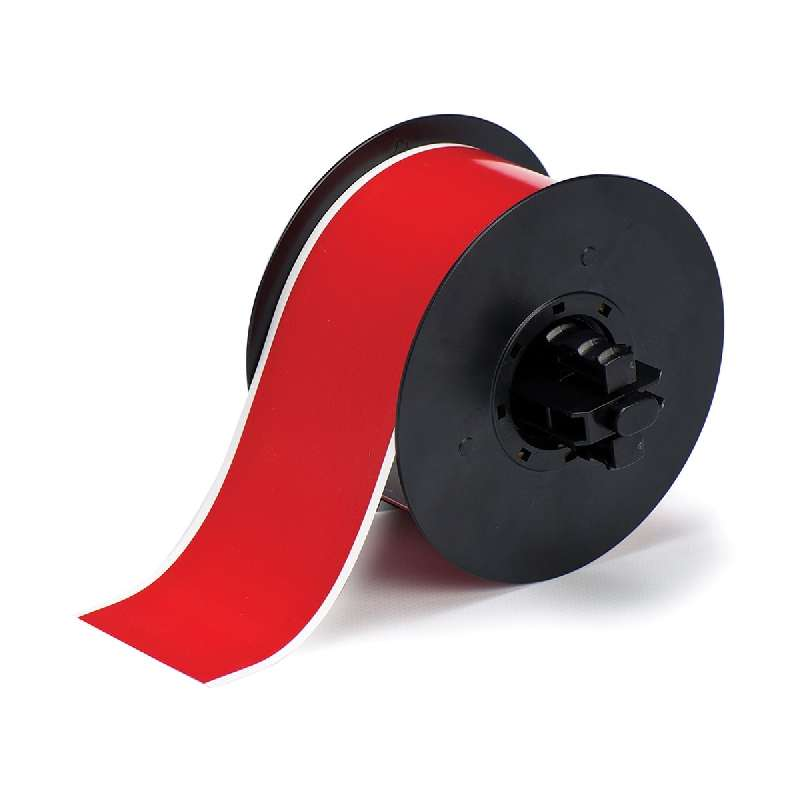 B30 Series Polyester Labels with Low Halide Content, Red, B-569, 2.25 in x 100 ft per Roll
