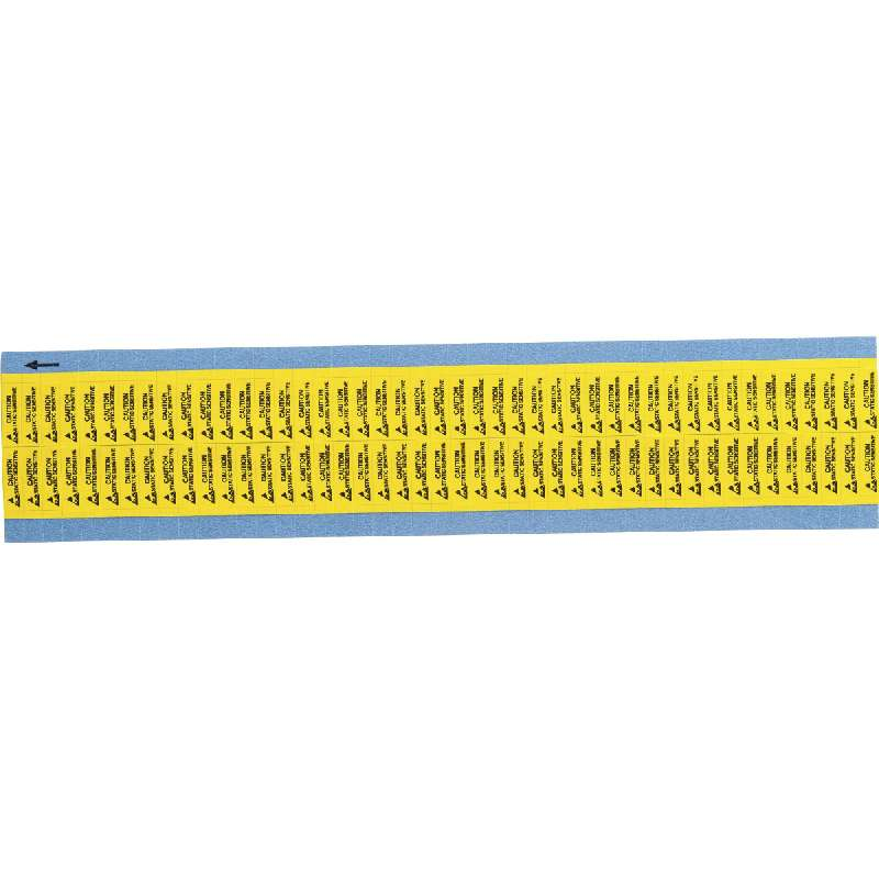 """Static Awareness Labels """"Caution Sensitive"""", B-500, Black on Yellow, 0.2 in 0.65 in, 90 Labels per Card"""