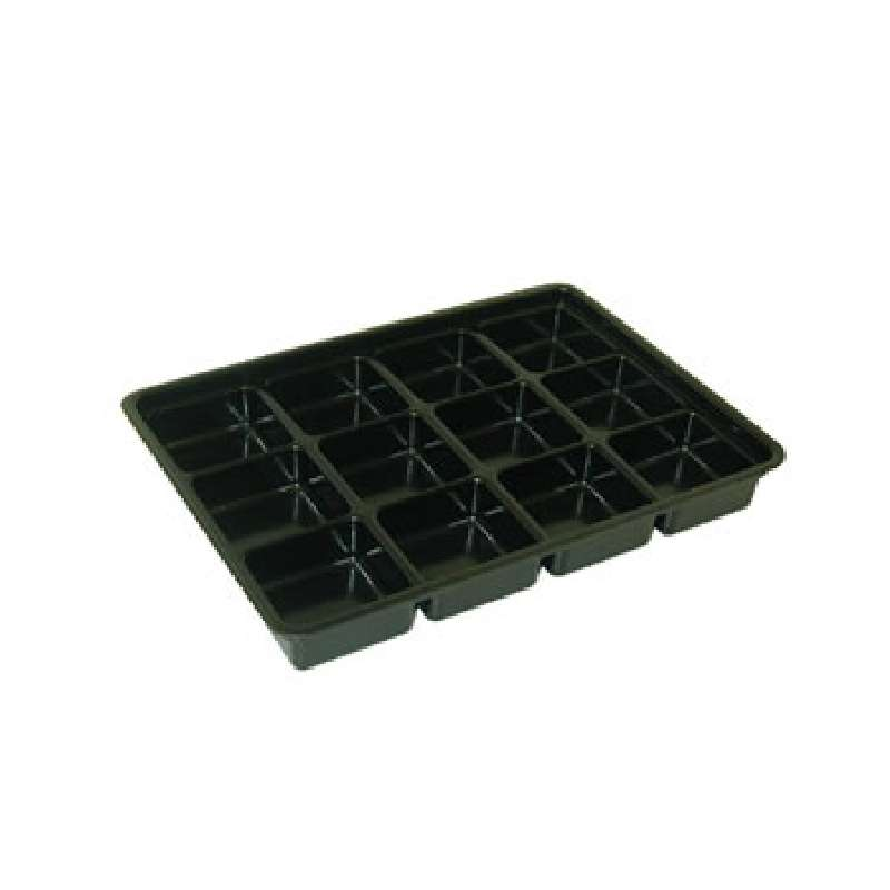 """Conductive Plastic Kitting Tray with 12 Compartments, 14 x 10 x 1-3/4"""""""