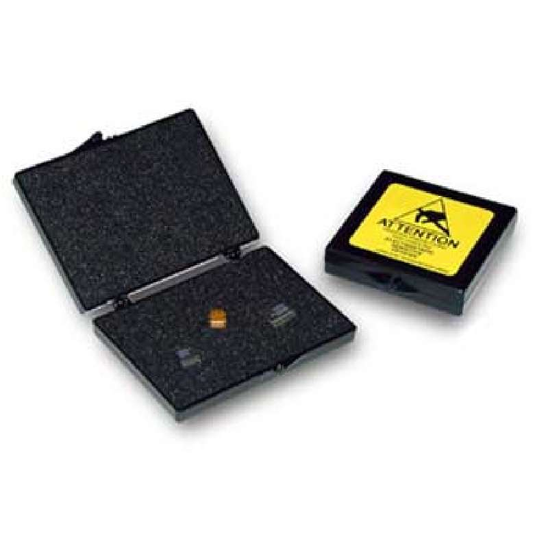PillowStat™ Hinged Conductive Plastic Box with Black Conductive Foam, 2 x 2 x 1/4""