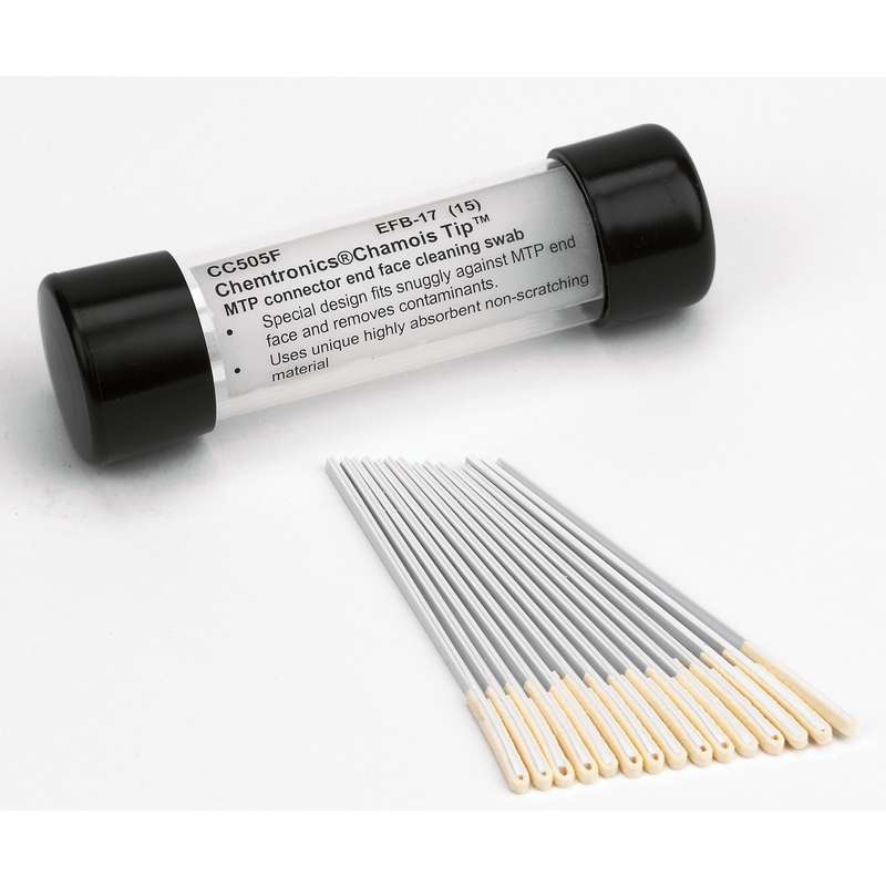 "MTP Connector Chamois Swab with 0.38"" Tip and Polypropylene Handle, 3.25"" Long, 25 Swabs per Tube"