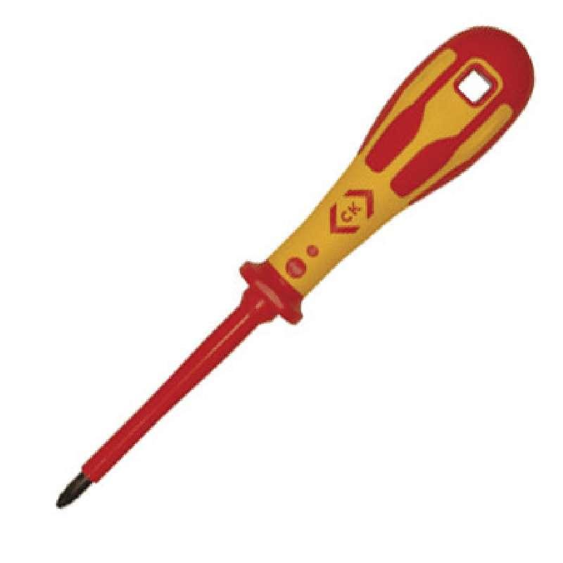"Dextro® VDE Pozidriv® Insulated Screwdriver with Ergonomic Grip, #1 x 3-1/8"" Long"