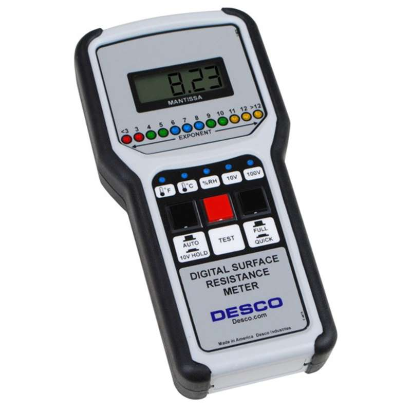 Digital Surface Resistance Meter with Rubber Grip Handles, NIST Certified, (Meter Only)
