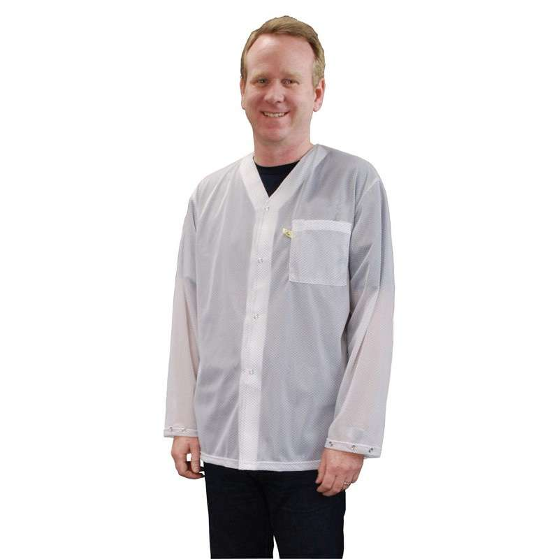 Trustat™ Jacket with Snaps, No Collar and One Pocket, White, Medium