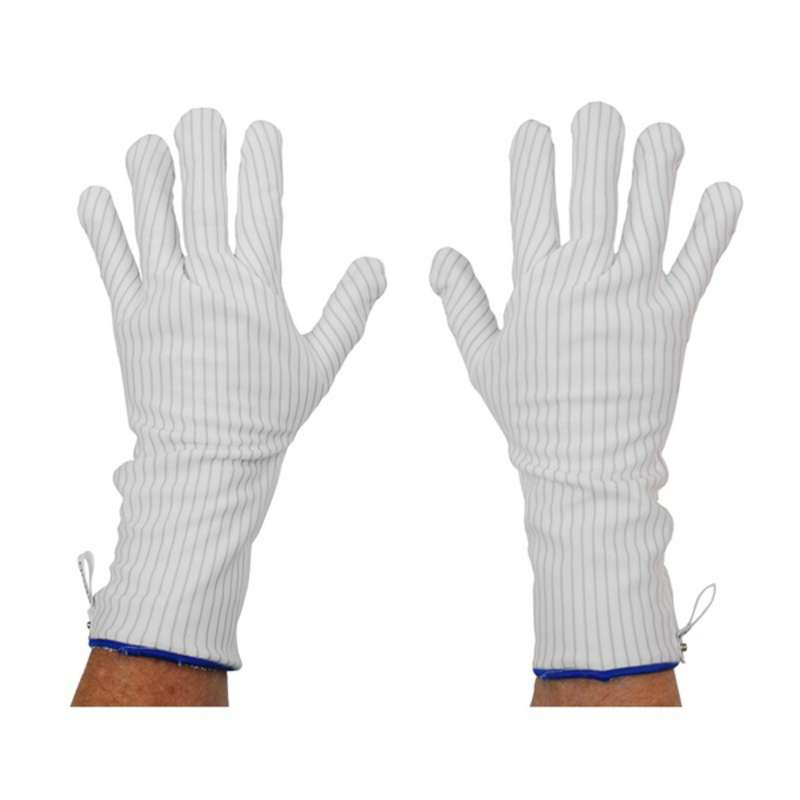 Dissipative Hot Process Gloves with Blue Trim and Snap, Medium , 1 Pair