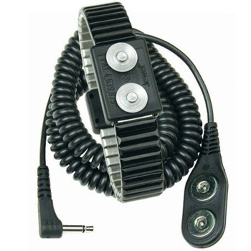 Jewel® MagSnap Dual Conductor Metal Wrist Strap with 6' Right Angle Coil Cord, Onyx, Small