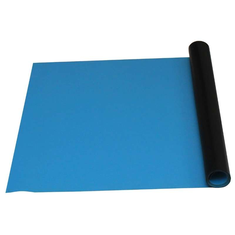 """2-Layer Diss/Cond Rubber Matting Roll without a Ground Cord or Snaps, Light Blue/Black, 24"""" x 50' x .060"""""""
