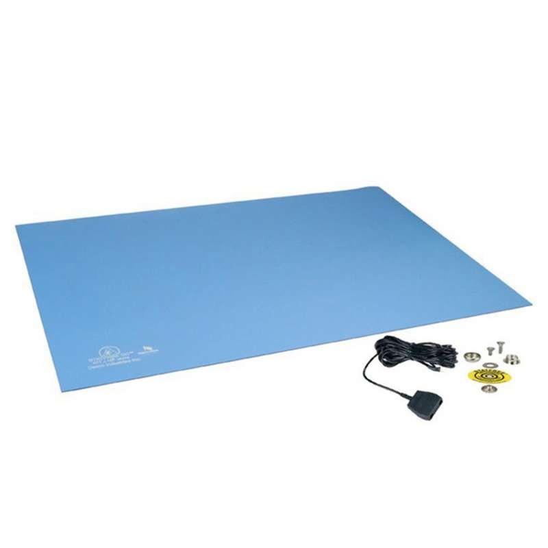 """Statfree UC2™ Cleanroom 2-Layer Diss/Cond Rubber Mat Tray Liner with Ground Cord and Snaps, Sky Blue, 0.080"""" x 16 x 24"""""""
