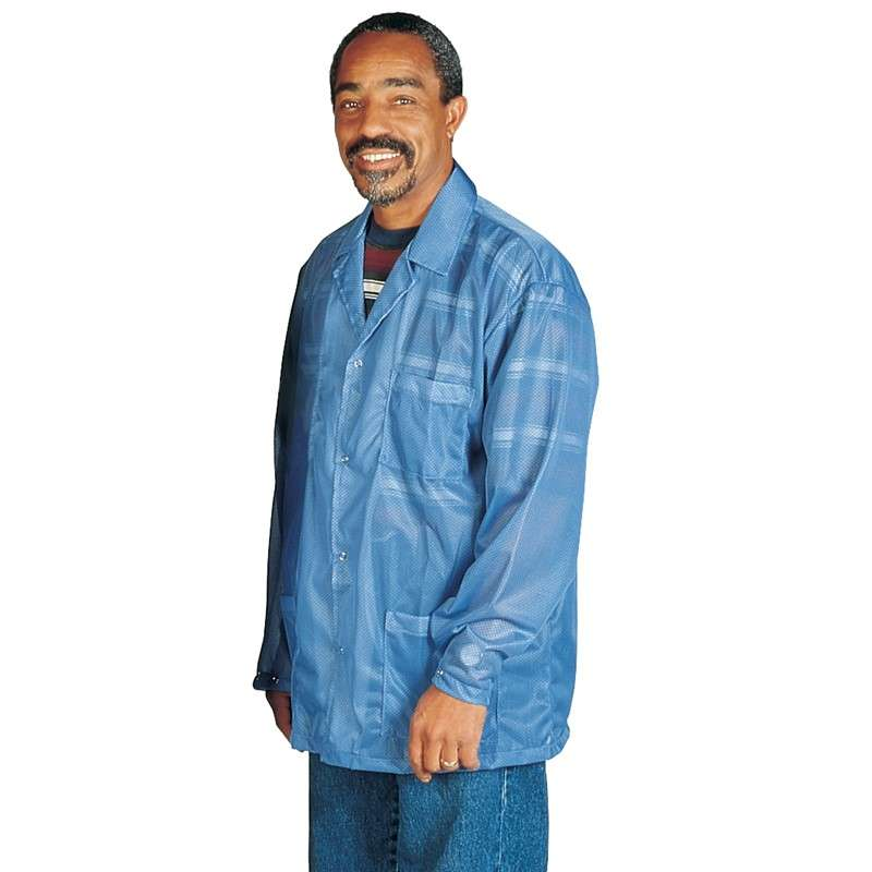 "Statshield® ESD-Safe Jacket with Snaps, Blue, Large, 30-1/2"" Long"