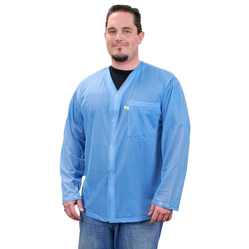 Trustat™ Jacket with Snaps, No Collar and One Pocket, Blue, Small