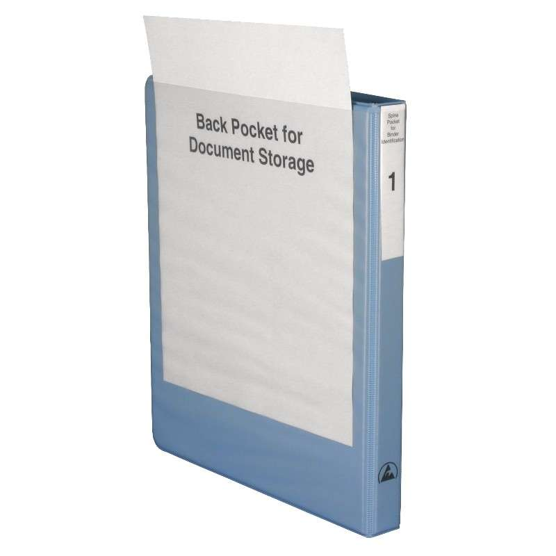 "ESD-Safe Dissipative 3-Ring Binder with 1/2"" Ring Size and Clear Front Pocket, Light Blue"