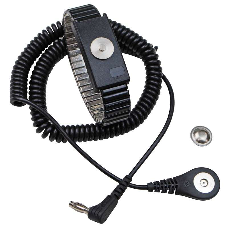 Jewel® MagSnap Expandable Adjustable Metal Wrist Strap with 4mm Snap and 6' Coil Cord with Right Angle Banana Plug