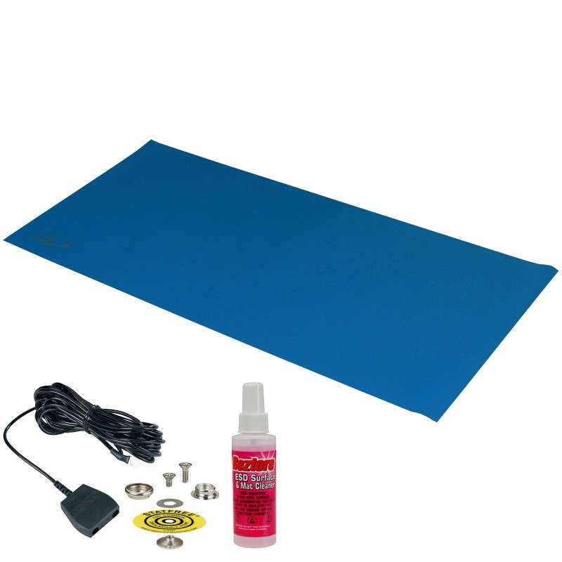 Statfree B2™ 2-Layer Diss/Cond Vinyl Worktop Mat Kit with One Ground Cord and One Snap, Dark Blue/Black, 24 x 48 x .060""