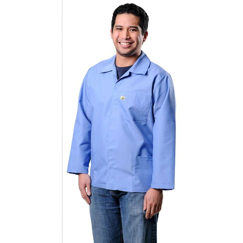 SMOCK, ESD HEAVY DUTY COTTON POLY, BLUE LARGE