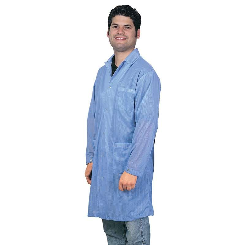 """Statshield® ESD-Safe Lab Coat with Snaps, Blue, 3X-Large, 41"""" Long"""