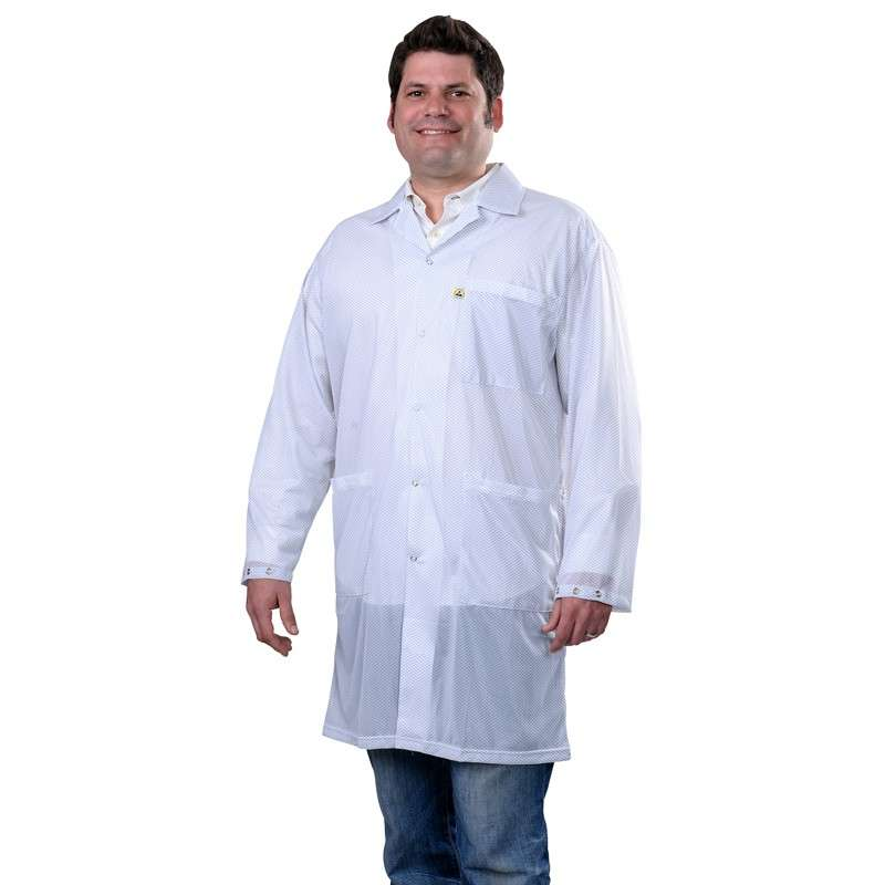 "Statshield® ESD-Safe Lab Coat with Snaps, White, X-Small, 38"" Long"