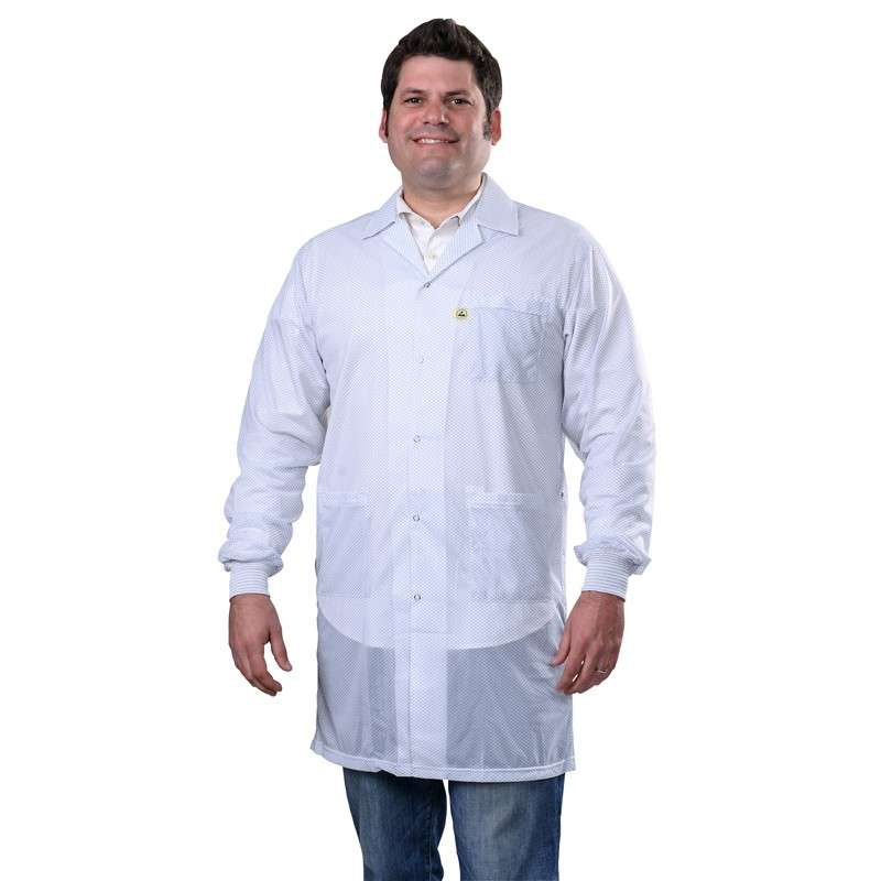 """Statshield® ESD-Safe Lab Coat with Cuffs, White, X-Large, 40"""" Long"""