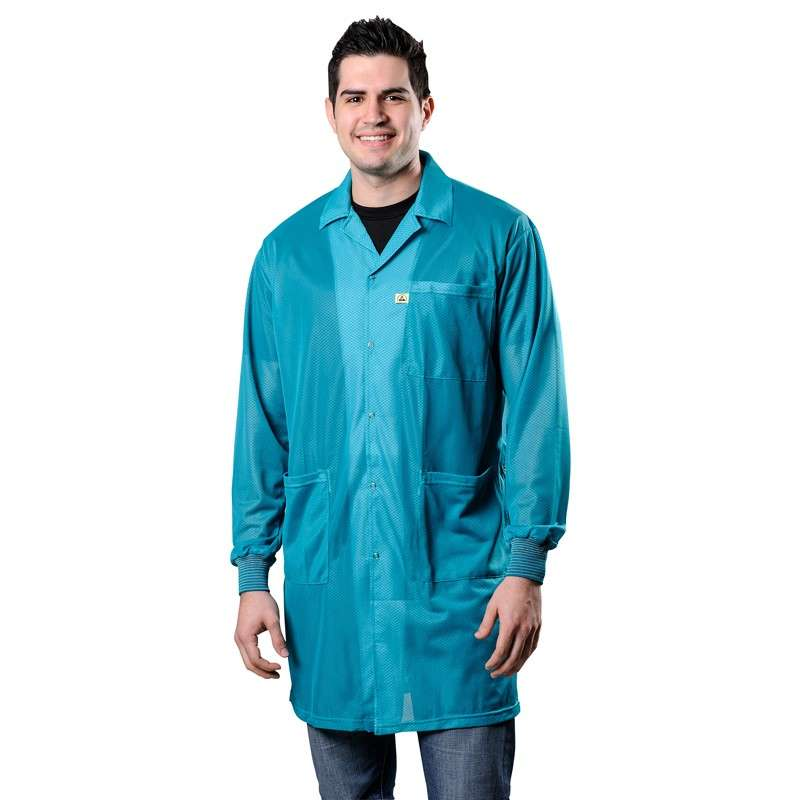 "Statshield® ESD-Safe Lab Coat with Cuffs, Teal, Small, 38-1/2"" Long"