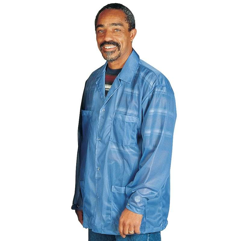 """Statshield® ESD-Safe Jacket with Snaps, Blue, 2X-Large, 31-1/2"""" Long"""