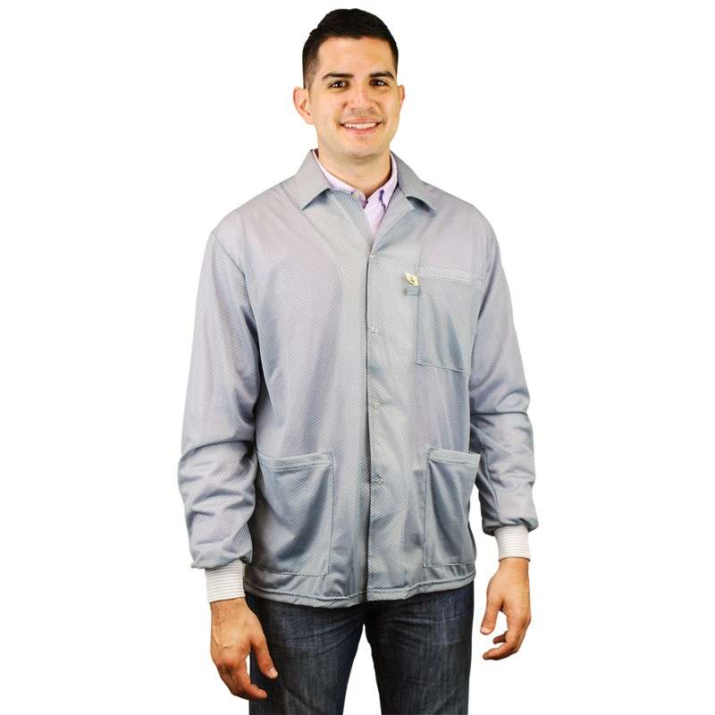 "Statshield? ESD-Safe Jacket with Knitted Cuffs, Grey, 6X-Large, 42"" Long"