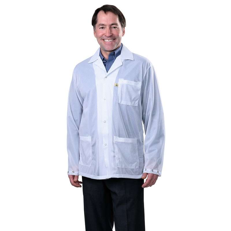 """Statshield® ESD-Safe Jacket with Snaps, White, Medium, 30"""" Long"""