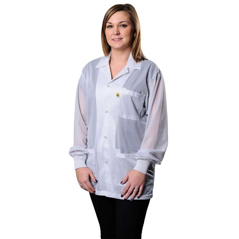 """Statshield® ESD-Safe Jacket with Cuffs, White, X-Small, 29"""" Long"""