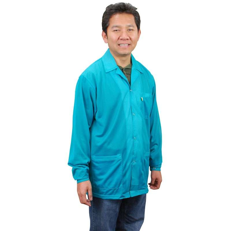 "Statshield® ESD-Safe Jacket with Snaps, Teal, Medium, 30"" Long"