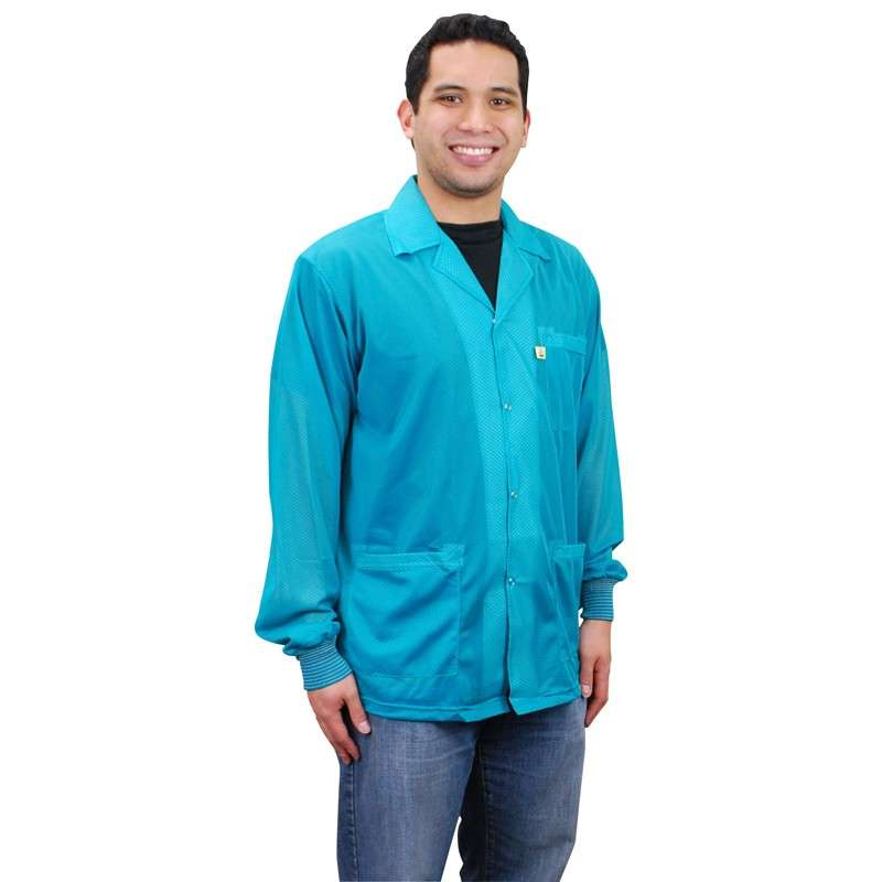 "Statshield® ESD-Safe Jacket with Cuffs, Teal, 3X-Large, 32"" Long"