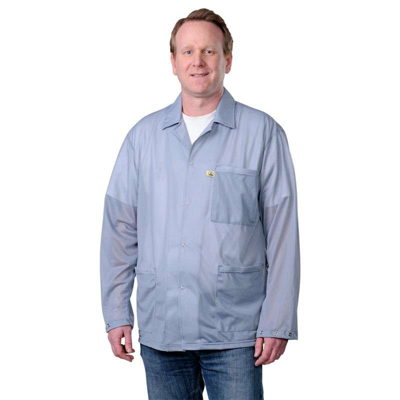 "Statshield™ ESD-Safe Jacket with Snaps, Grey, Small, 38-1/2"" Long"