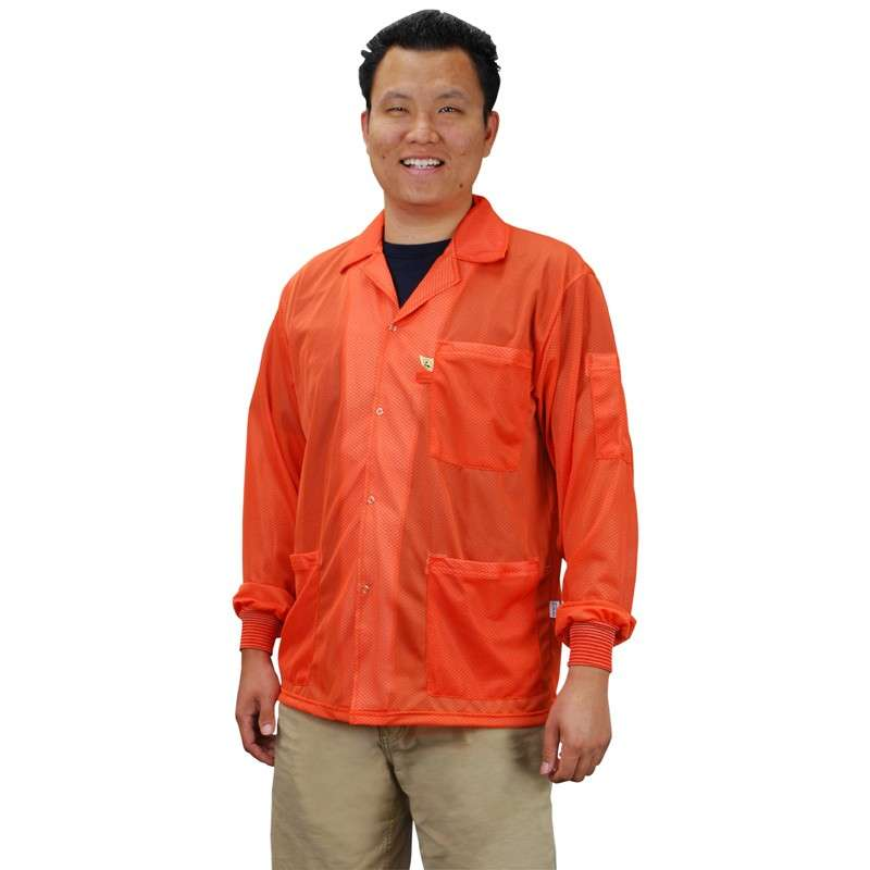 """Statshield™ ESD-Safe Jacket with Knitted Cuffs, Orange, 6X-Large, 33"""" Long"""