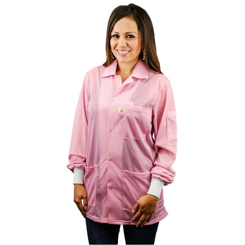 "Statshield™ ESD-Safe Jacket with Knitted Cuffs, Pink, Large, 30-1/2"" Long"