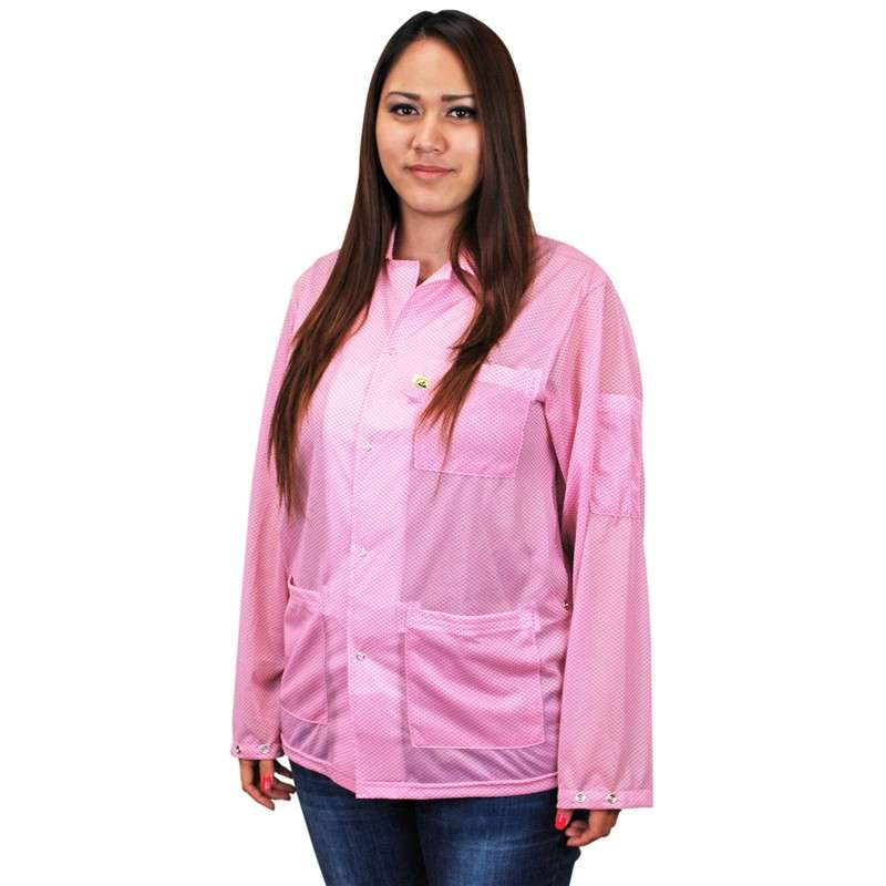 "Statshield? ESD-Safe Jacket with Snaps, Pink, Large, 30-1/2"" Long"