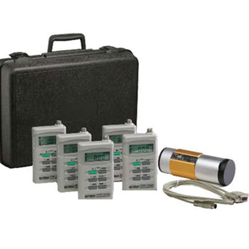 Dosimeter Kit, Includes (5) 407355 Dosimeters, (1) 407766 Calibrator, Software, and Carry Case