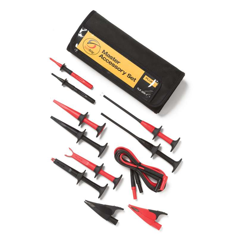 SureGrip® Industrial Test Lead Set with Insulated Test Probes in a Six Pocket, Roll-Up Pouch