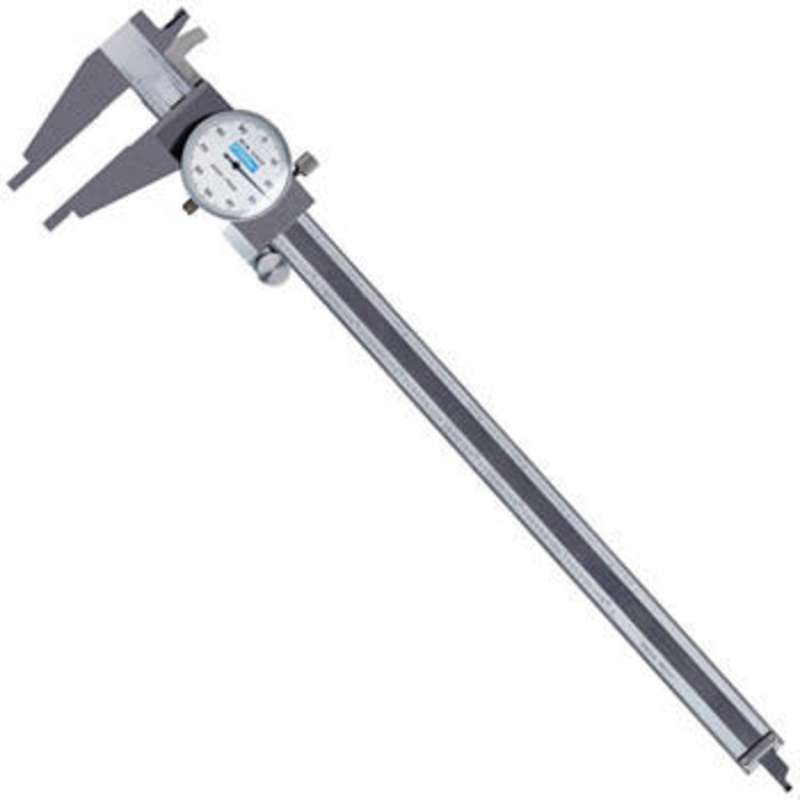 "Heavy Duty Stainless Steel Dial Caliper with 4-Way Measuring and 0-12"" Range"