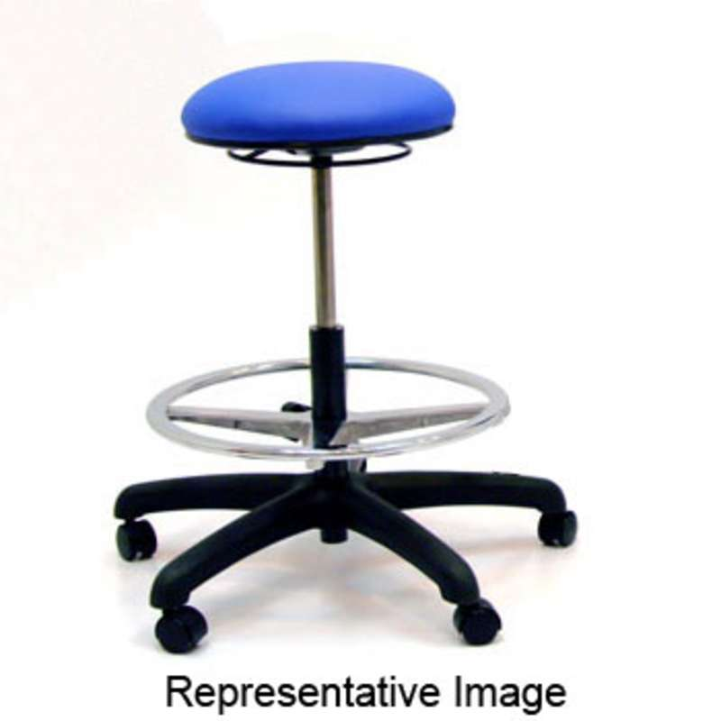 "Adjustable 22-29.5"" 1000 Series ESD-Safe Black Vinyl Bench Cleanroom Stool with Aluminum Base"